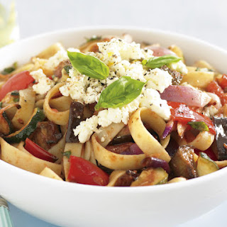 Fettuccine with Ratatouille and Ricotta Cheese.