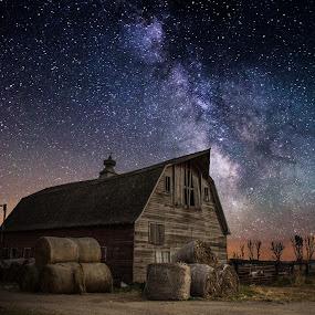 Barn IV by Aaron Groen - Landscapes Starscapes ( south dakota, milky way stars, galactic center of the milky way galaxy and a barn, milky way, barn series, astro, sky, light painting, barn, homegroen, stars, night, galaxy )