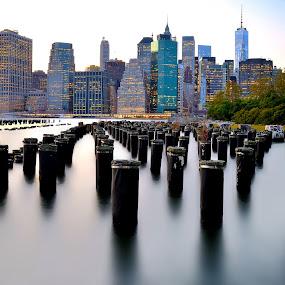 Manhattan view - N.Y.C. by Luigi Alloni - Buildings & Architecture Architectural Detail ( buildings manhattan n.y.c. river longexposure )