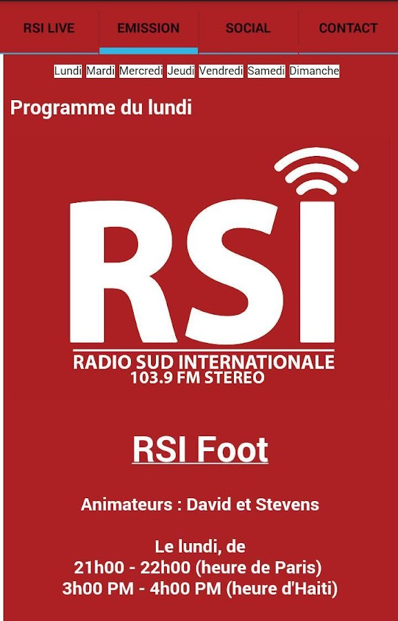Radio Sud Internationale (RSI)- screenshot