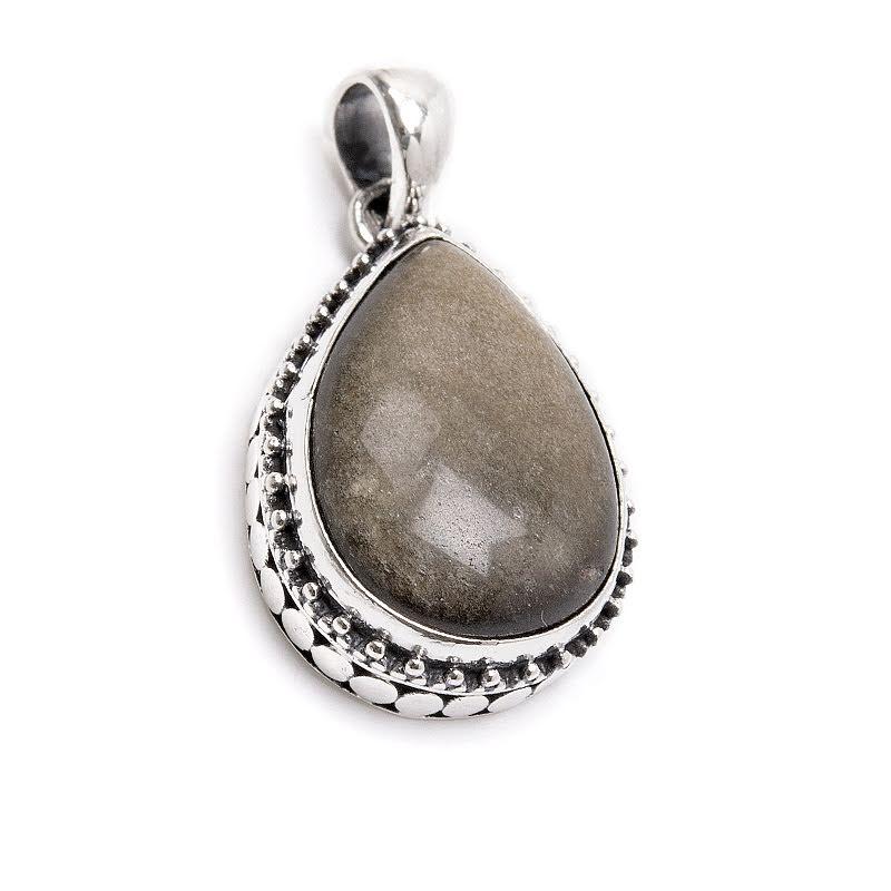 Guldobsidian, droppformat hänge med silverfiligran