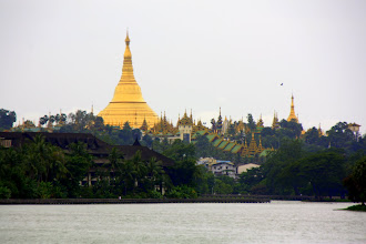 Photo: Year 2 Day 54 -  View of Shwedagon Paya and Its Cascading Roofs of the Hallway