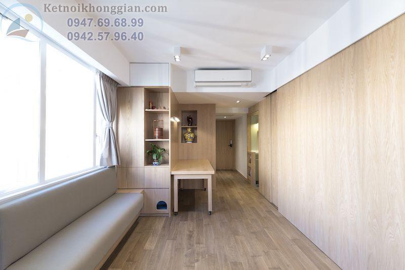 thiết kế căn hộ nhỏ tràn ngập ánh sáng