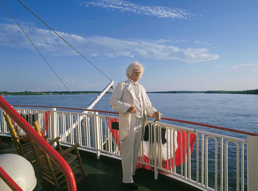 Mark-Twain-on-Boat.jpg - Learn more about Mark Twain while visiting memorable destinations, including his hometown, on your American River Cruises voyage.