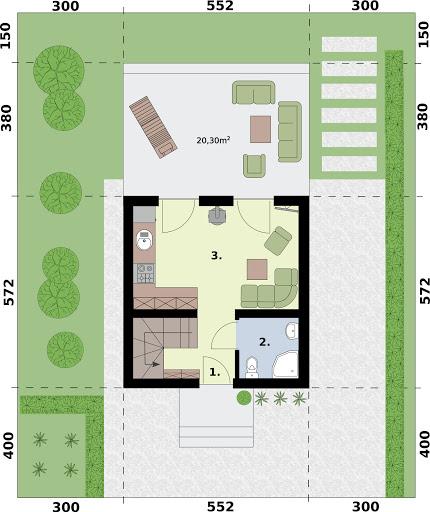 Lido 3 dom letniskowy z antresolą - Rzut parteru