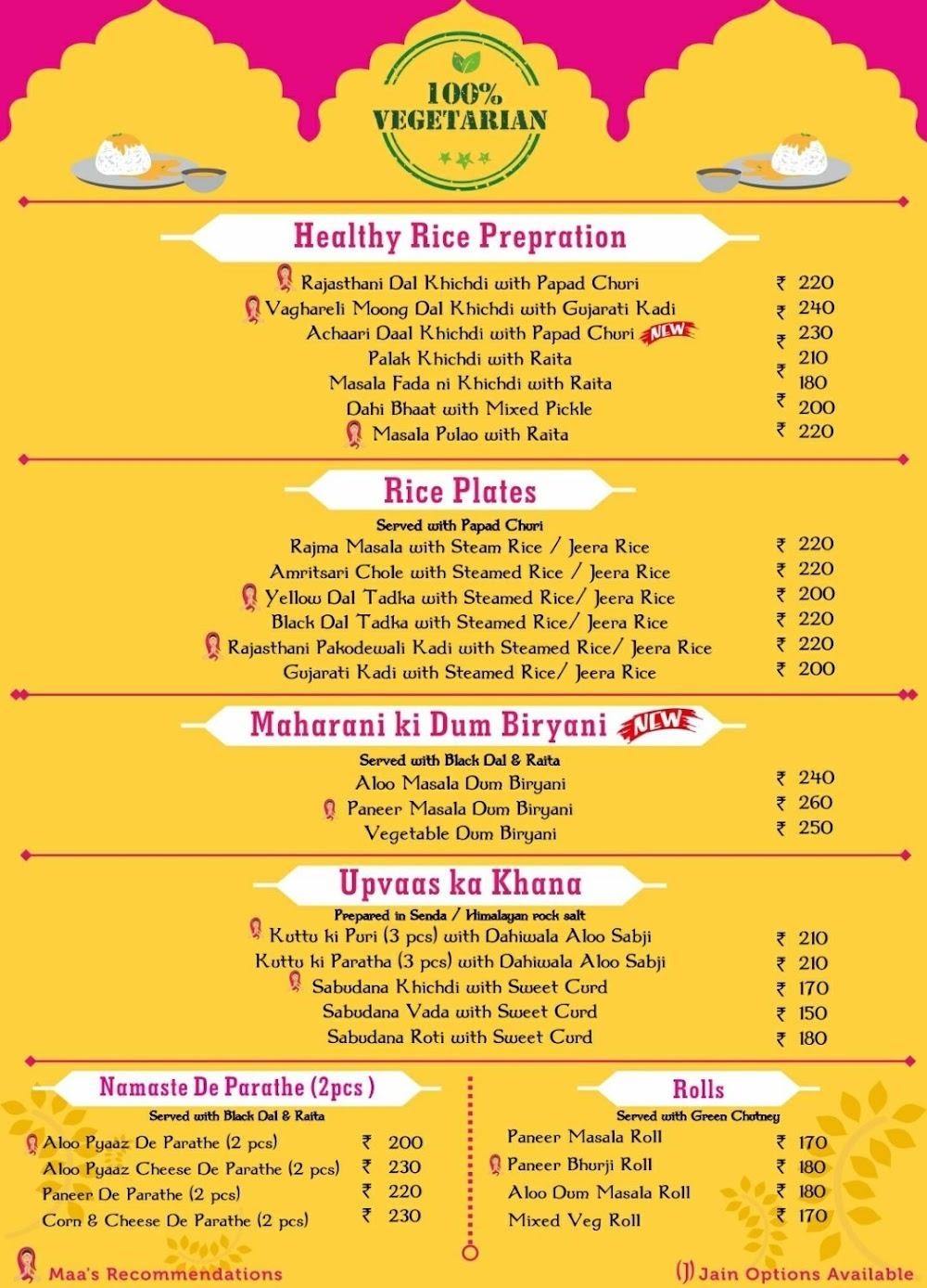 Namaste India menu 1