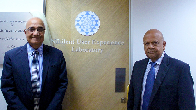 LC Singh, Nihilent executive vice-chairman, and public enterprises minister Pravin Gordhan during the official opening of Nihilent's UX lab in Johannesburg.