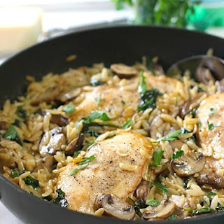 Creamy One Skillet Chicken with Mushrooms and Orzo.