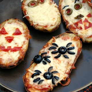 Halloween Baked Potato Skin Pizzas