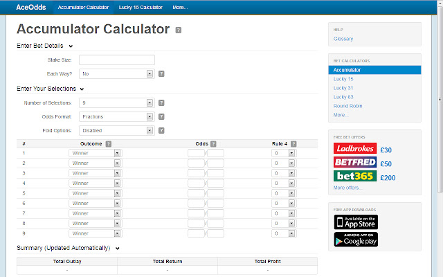 Betting odds calculator lucky 15 calculator binary options pro signals results of super