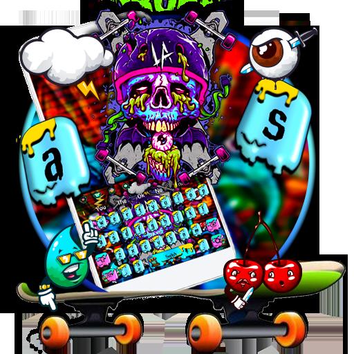 Supreme Skull Graffiti Skateboard Keyboard Theme