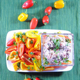 Spicy Slender Bean Dip Appetizer with Baby Bell Peppers.