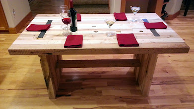"""Photo: Old World Butcher Table 72""""L x 40""""W x 30""""H Color: Natural Finish: Wax Hardware: Recessed Plain Steel Investment: 1800"""