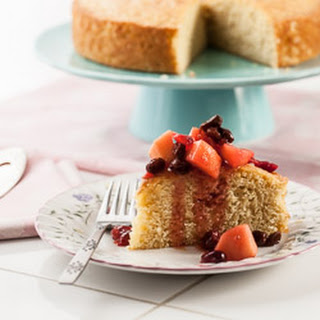 Meyer Lemon Polenta Cake with Winter Fruit Compote