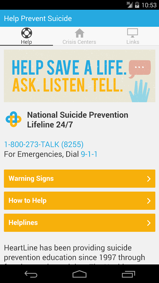 HELP Prevent Suicide- screenshot