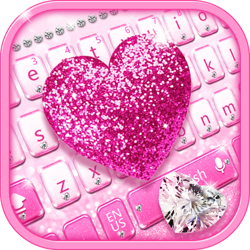 Pink diamond love keyboard theme free