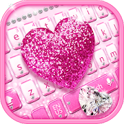 Pink diamond love keyboard theme free