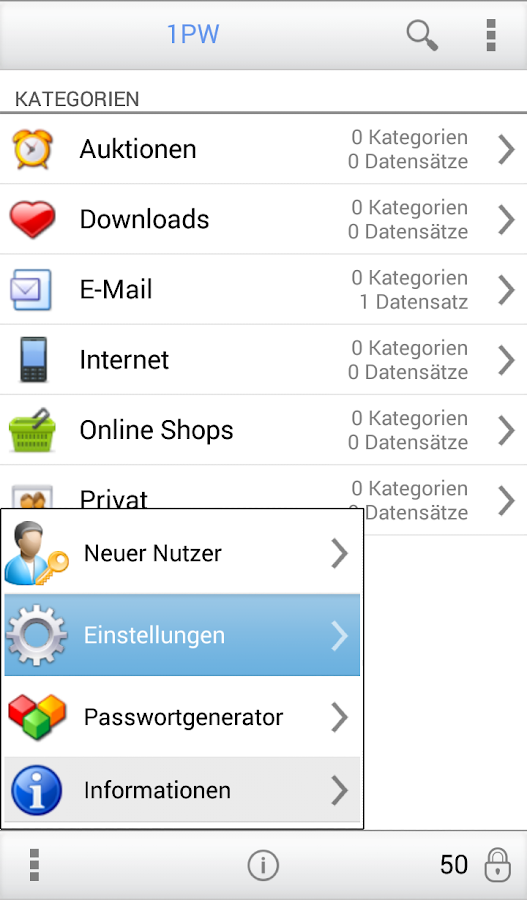 1PW Passwortverwaltung – Screenshot