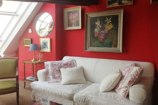 Bright living area at 2 bedroom with exceptional views of Notre Dame and Seine