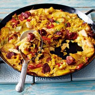 Paellatortilla mit Chorizo
