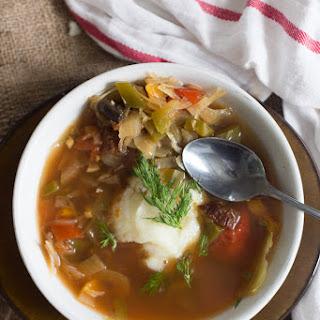 Bar Tartine's Sauerkraut Soup (vegetarian).