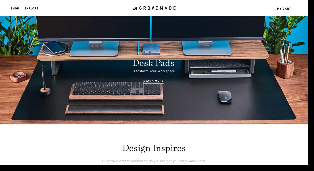 Grovemade website screenshot wooden accessories business