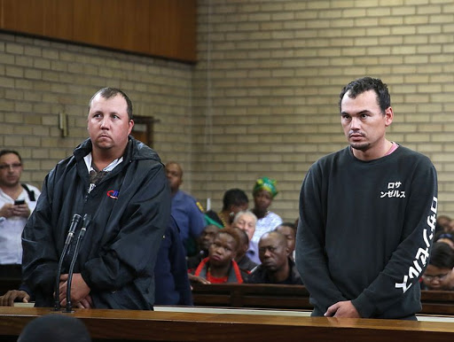 Willem Oosthuizen and Theo Martins during their court appearance for the infamous coffin case yesterday . Photo: Veli Nhlapo