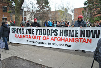 """Photo: The Toronto Coalition to Stop the War continues to demand: """"bring the troops home now!"""""""