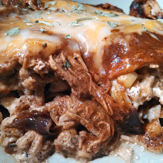 Stacked Pork Enchilada Casserole
