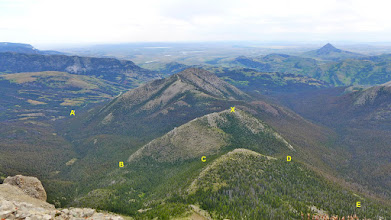 Photo: The previous 2 photos were taken from point X (side trip on the way down). The trailhead is near A, then goes near B, C, D, E, and then to a saddle on the north side of Crown Mountain. There I went off-trail to reach the summit.