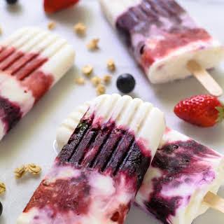 Berry Parfait Yogurt Popsicles.