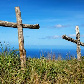 Resurrected by Jun Robato - Public Holidays Easter ( easter, guam, landscapes, mt. lam lam, cross )
