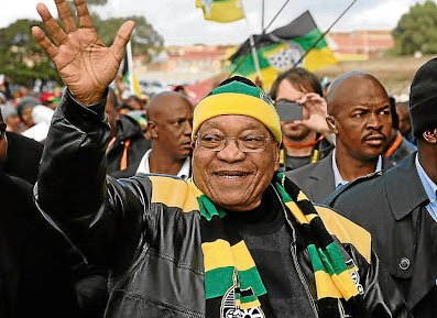 President Jacob Zuma waves during a rally. Picture: THE HERALD