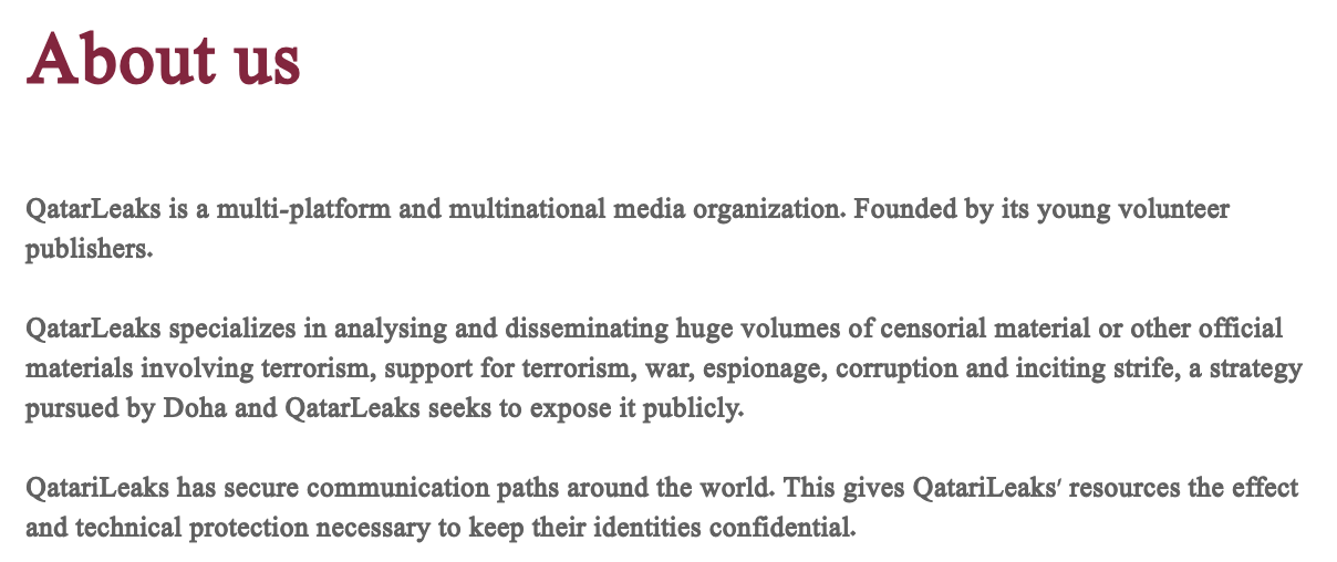 The about page of Qatarileaks.com.