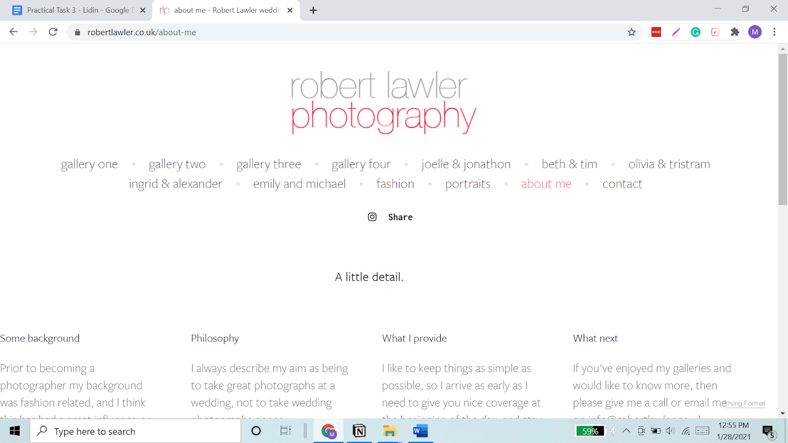 Photographer Robert Lawler, on his portfolio website, writes what he provides and his philosophy.