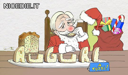 Babbo Natale mangia una scritta fatta con fette di panettoni: auguri