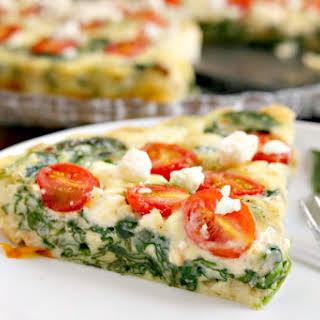 Spinach, Tomato and Feta Crustless Quiche.