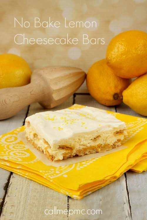 """No-Bake Lemon Cheesecake Bars""""Fluffy, light, creamy, refreshing and not overly sweet these..."""