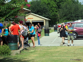 Photo: Line was out to the walkway by the parking lot at 10:13 AM.       2016-0716 RPWhite
