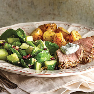 Marinated Pork and Potatoes with Cucumber Summer Salad