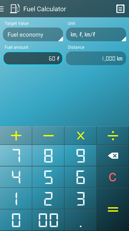 fuel economy calculator android apps on google play. Black Bedroom Furniture Sets. Home Design Ideas