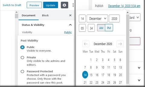 WordPress publishing options 1