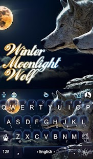 Winter Moonlight Wolf Keyboard Theme - náhled