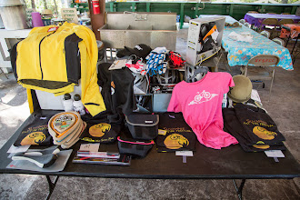 Photo: all the great raffle prizes. Great thanks to Champion Cycles, Lakeshore Cycles, and Pedal Milisha!