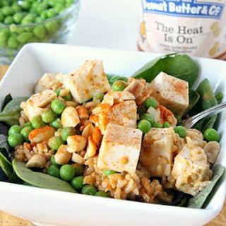 Spicy Peanut Butter Tofu Rice Salad.