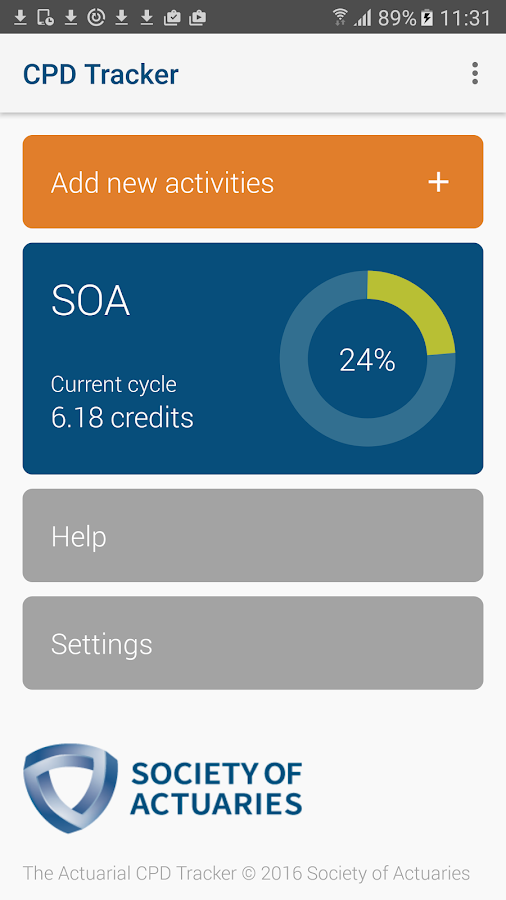 SOA CPD Tracker- screenshot