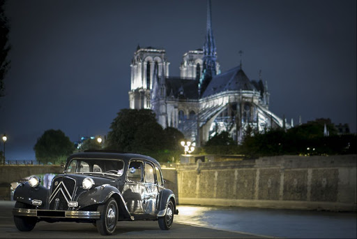 City tour in Paris by night in classic car