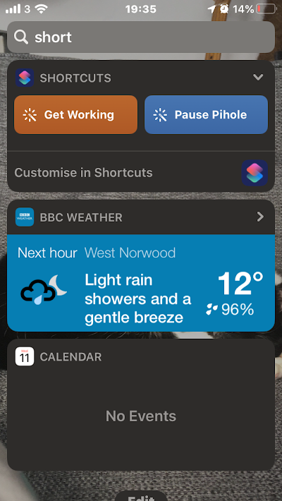 Widget screen on iPhone showing the Pause Pihole function
