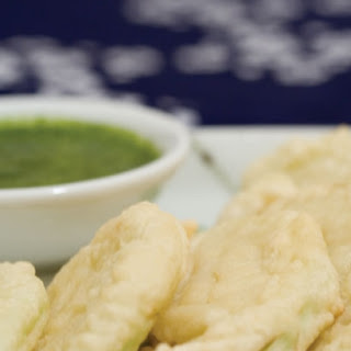 Heirloom Squash Tempura with Spicy Mint Chutney Dipping Sauce.
