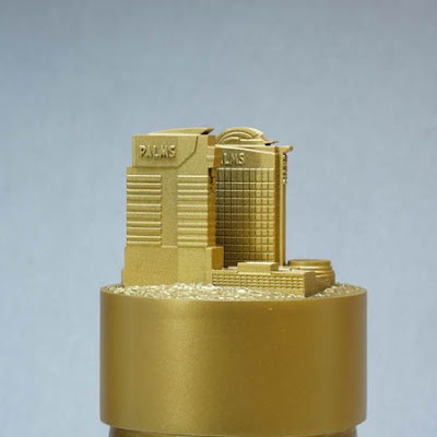 3d printing gallery image of gold painted sla resin architectural piece for a snowglobe insert